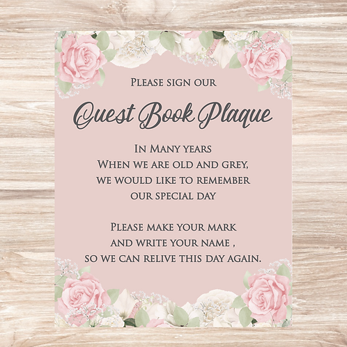 Guest Book Plaque - 10in x 8in print