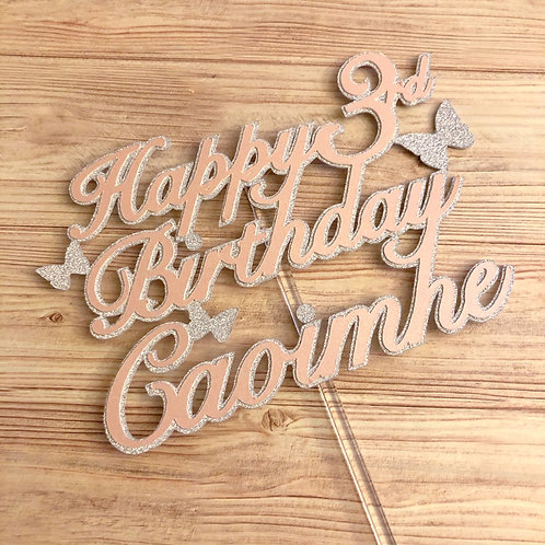 Personalised Cake Topper - Butterfly Happy Birthday