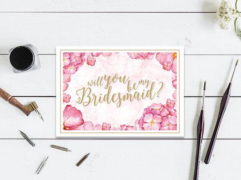 Pink Floral Bridesmaid Card