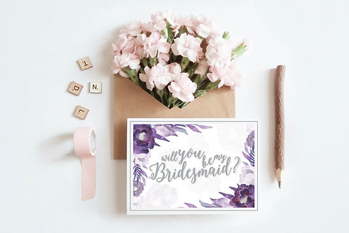 Purple Bridesmaid  Card