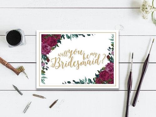 Burgundy Bridesmaid Card