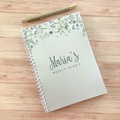 Green Foliage Weekly 'To Do' Notebook - A5
