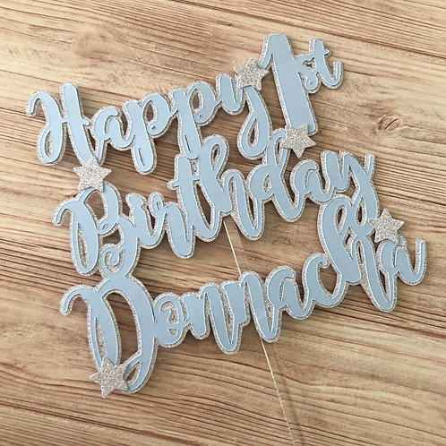 Personalised Cake Topper - Stars Happy Birthday
