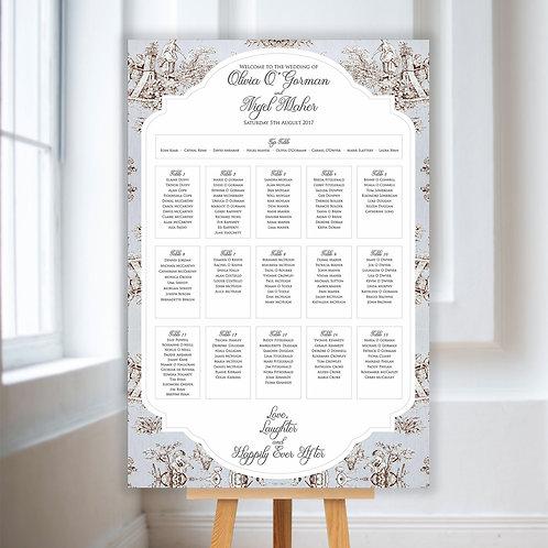 Pale Blue Rustic Table Plan