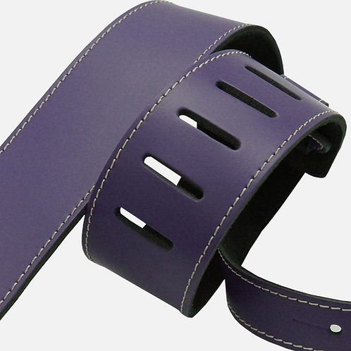 """2.25"""" Suede Backed Leather Guitar Strap - Lust Purple"""