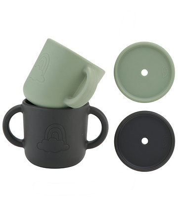 Cups with lids Rainbow 2pcs