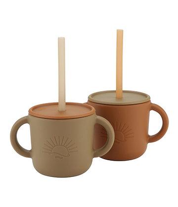 Cups with lids Sun 2pcs