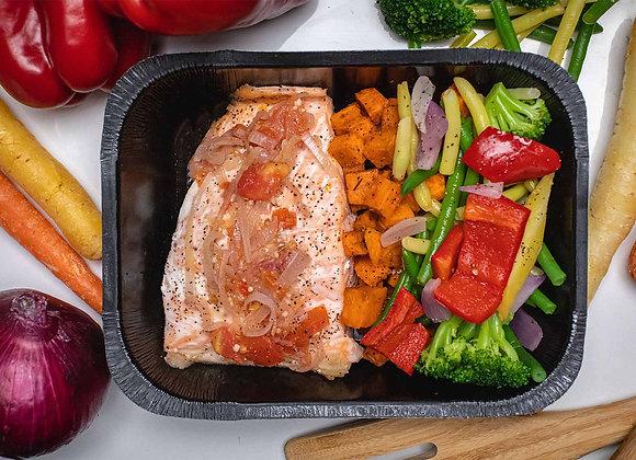 Filet de Saumon Échalotes Françaises & Tomates