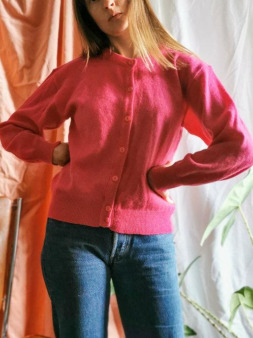 Cardigan en laine fuchsia