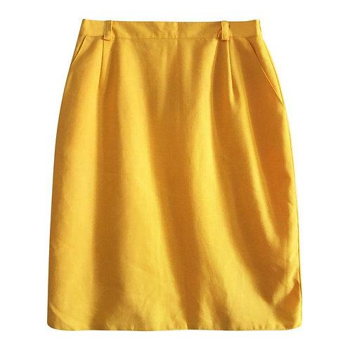 Jupe en lin jaune moutarde Taille 40