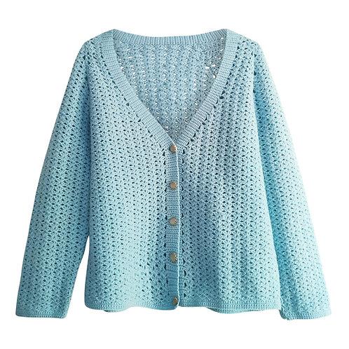 Cardigan bleu pastel, laine