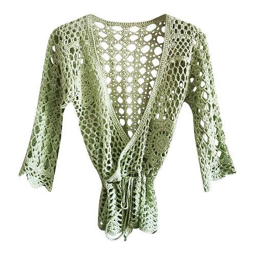 Top vert en crochet Taille 38/40