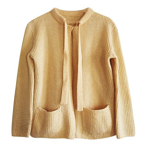 Cardigan jaune pastel en laine, T.38