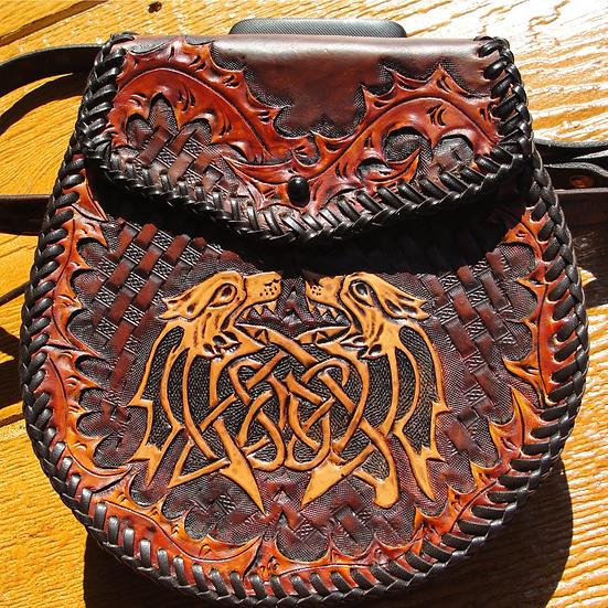 Zoomorphic Sporran - double loop weave + tooled belt