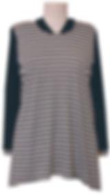 C413 Trim Hoodie Stripe Knit Front View.