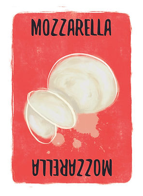 Recipe for Disaster Game MozzarellaCard.   Stumped on what to do with that Mozzarella ball in the fridge? Don't let it be a disaster, why not try makingMeat Ball Sandwiches, or Pizza, or Deep Fried Mozzarella Sticks? Or push the boat out and make Peach Mozzarella and Honey?