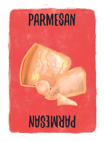 Recipe for Disaster Game Parmesan Card.   Did you know that Parmesan Cheese comes from the Parma region (famous for its ham too), was invented over 800 years ago and the older it gets the better it gets. Not just flavour, but nutrition containing vitamins A, D, iron, and potassium. Now quit reading this and cook something!