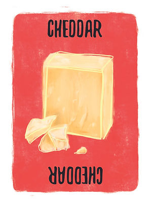 Recipe for Disaster Game Cheddar Card.   Did you know that Cheddar Cheese has been made in the Cheddar Gorge in England for over 900 years? No matter how dark the caves there are, it brings a bright flavour to almost anything. Especially Enchiladas, give us a whole tray!
