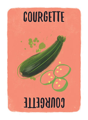 Recipe for Disaster Game  Courgette Card.   Courgettes by any other name (and there are two others: Zucchini and Small Marrow) would still be delicious. But, the top two things to do with them are make Zucchini Bread or Ratatouille!