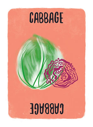 Recipe for Disaster Game Cabbage Card.  A favourite ingredient of the old Soviet Union, don't let this super food (it contains Protein, fibre, VitaminsK, B6 & C, Folate, Manganese, Calcium, Potassium and Magnesium) go to waste. Our favourites are Gyoza and Spring Rolls.