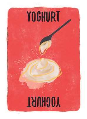 Recipe for Disaster Game Yoghurt Card.   Another one of those funny British words...the Yanks call it Yogurt! Either way, it can't be beat (by Milk anyway). For us it is a core ingredient of Tandoori Chicken and Beef Vindaloo.