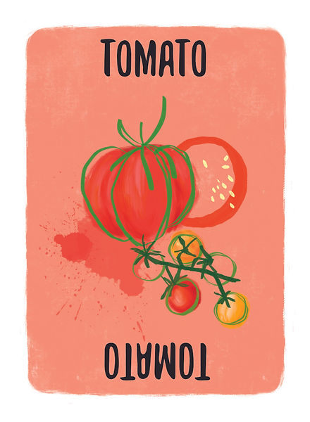 Recipe for Disaster Game TomatoCard.   Tomatoes may have originated in the Andes Mountains in South America, but where would Italy (and byextension the rest of us)be without them? One of our favourite dishes to make with Tomatoes is Malai Kofta and who could forget the Cassoulet Casserole? Roast 'em. Boil 'em,. Broil 'em you can't go wrong.