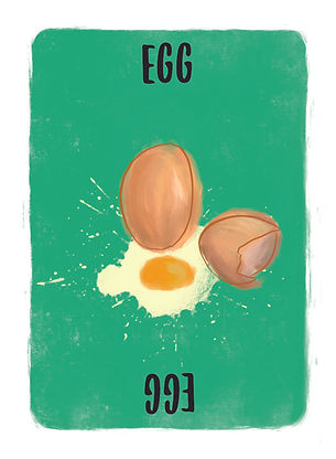Recipe for Disaster Game Egg Card:  How do you like your eggs? Hard Boiled, Soft Boiled, Scrambled, Sunny Side Up, Over Easy, Poached, Baked, Basted, Fried or just included in your favourite cake?  This proteinhas everything going for it!
