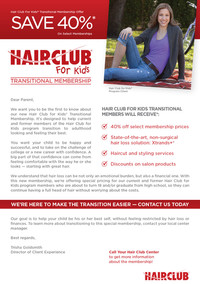 Hair Club for Kids Transitional Membership flyer