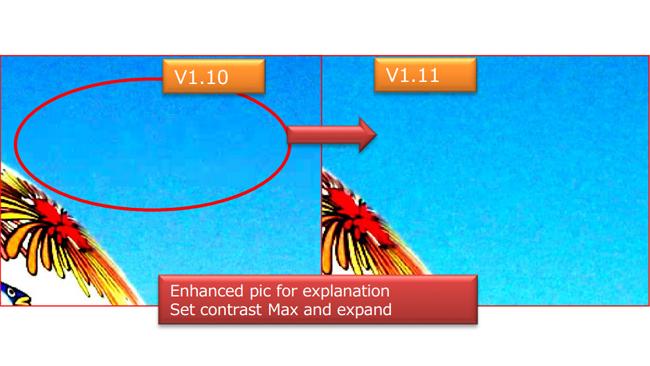 從FS5的4K影格100%裁切的影像,比較韌體V1.10與V1.11的差異