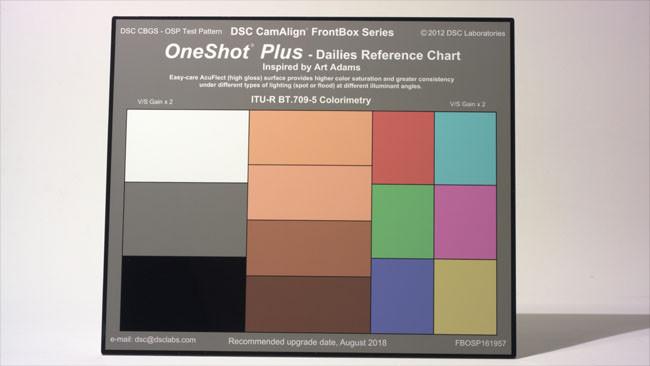 DSC Labs的OneShot圖卡包含了灰階參考,及模擬膚色,側邊則為主要色(Primariy)及次要色(Secondary)