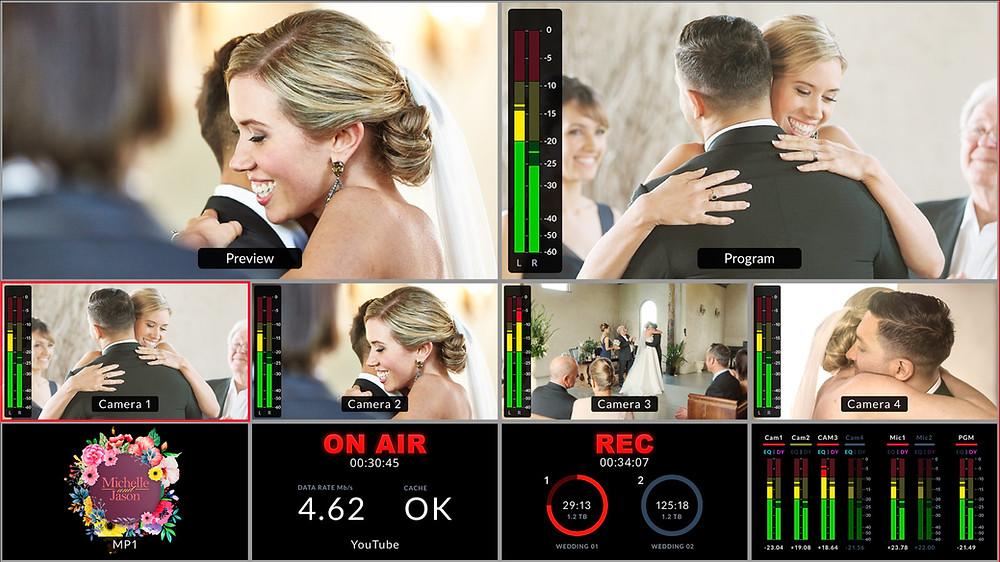 多畫面分割功能(multiview)還帶有記錄、串流媒體直播狀態提示以及Fairlight混音台