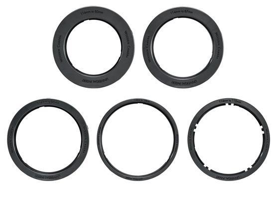 每一組旋轉式(Swing Away)包含了遮光斗、上遮光片、旋轉鏡頭環、不同尺寸的鏡頭環、及萬用遮光布套(Universal Donut)。