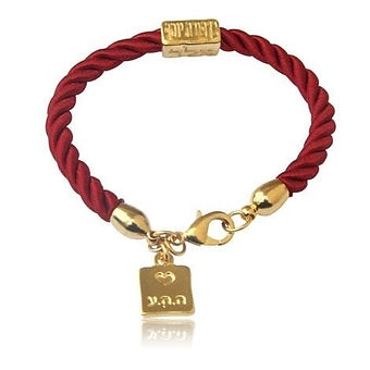 Gold-Plated-and-Red-Rope-Bracelet---Love