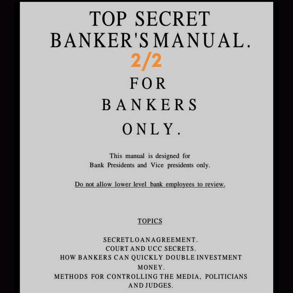 NEED PROOF - Top Secret Banker's Manual