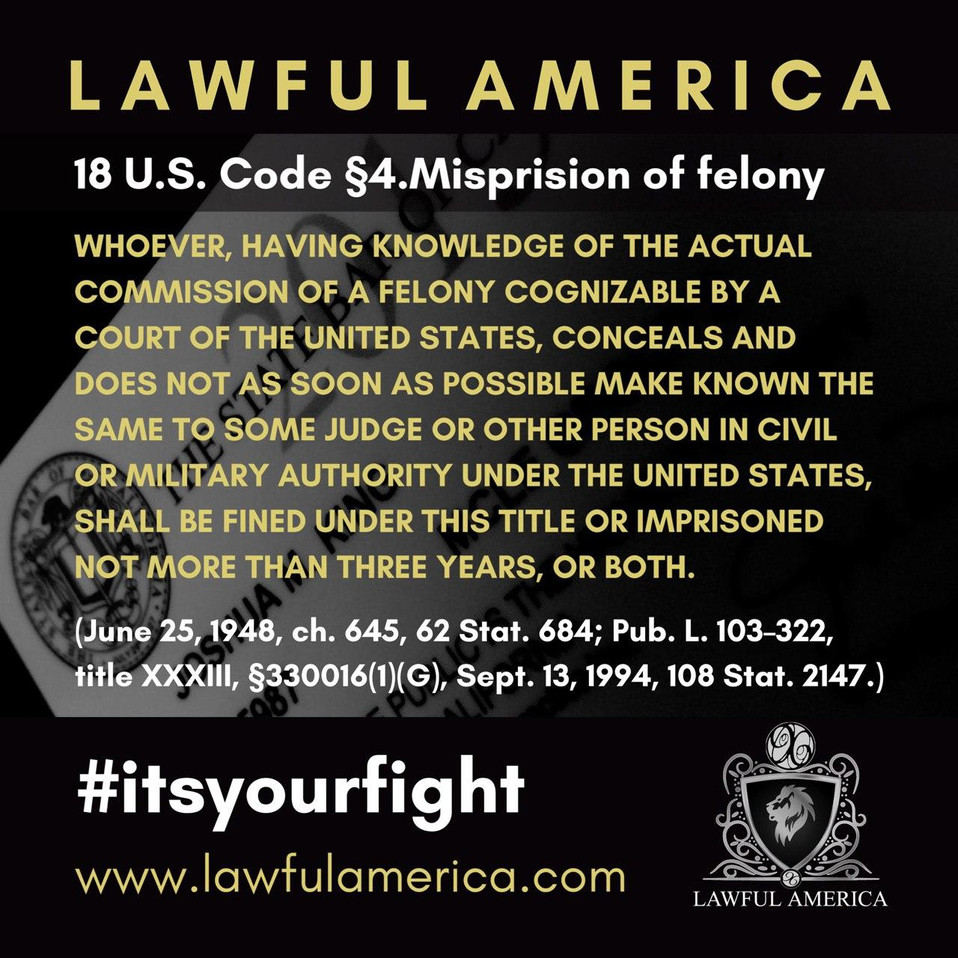 #ITSYOURFIGHT - 18 U.S. Code 4 - Mispris