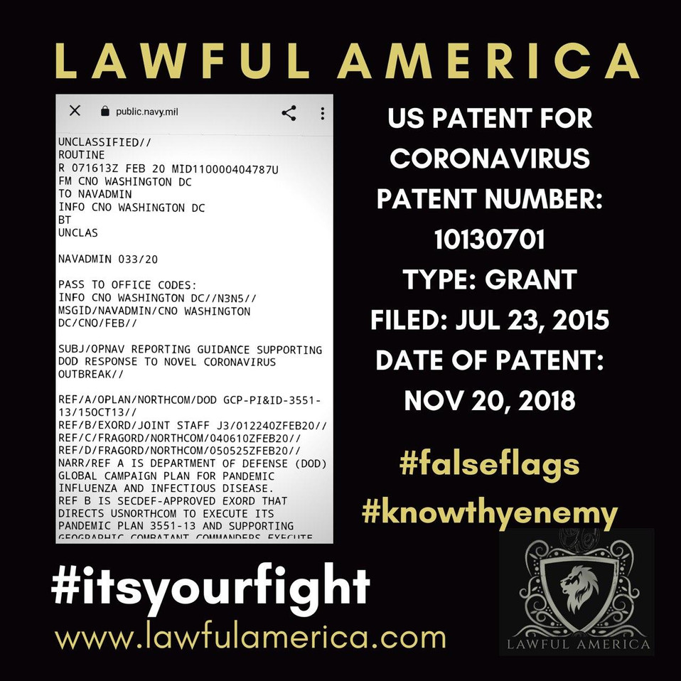 #KNOWTHYENEMY - US Patent for Coronaviru