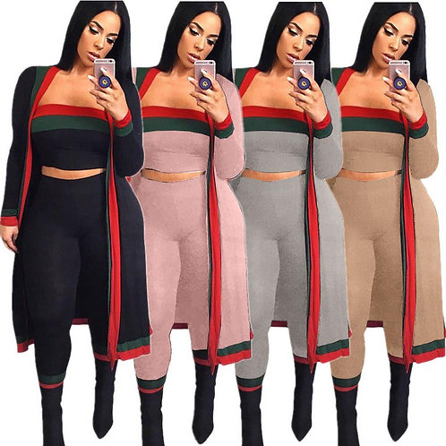 Fancy Crop Top Tracksuit 3 Piece Set Women Top and Pant