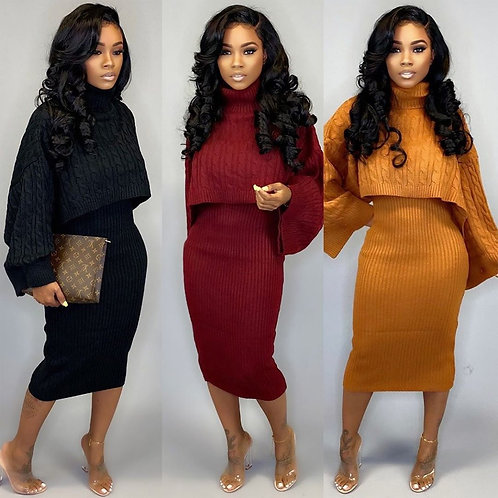 Knitted Two Piece Turtleneck Skirt Set