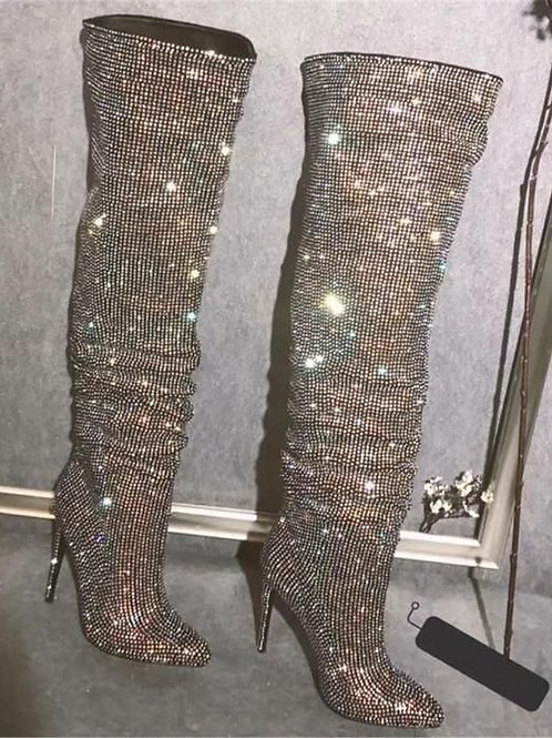 Bling Bling Crystal Long Boots