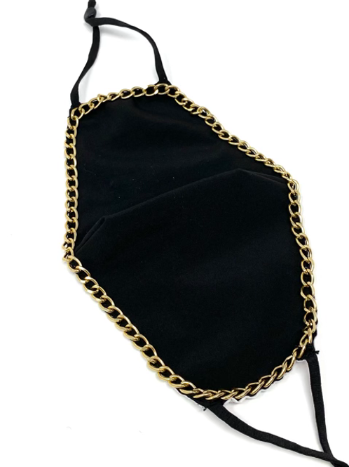 Black with Gold Chain Mask