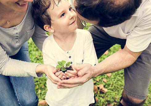 Childing planting in soil