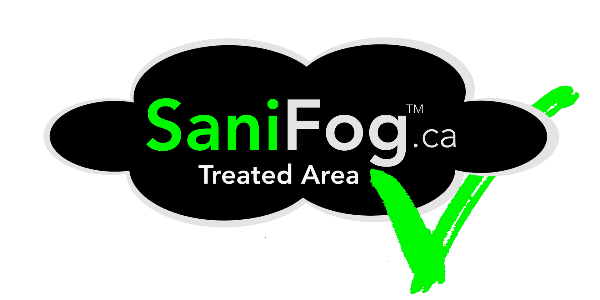 SaniFog.ca logo with checkmark under and