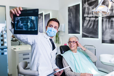 patient at the dentist having an x-ray