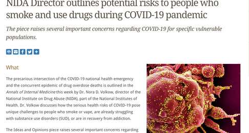 NIDA Director outlines potential risks to people who smoke and use drugs during COVID-19 pandemic