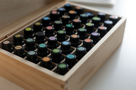 storage box containing bottles of essential oils