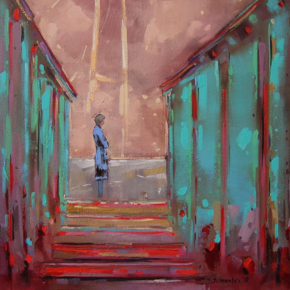 "EN  'Unity' Oil on canvas, 37 x 38 cm, 2018 ____  LT  ""Vienovė"" Drobė | al., 37 x 38 cm, 2018"