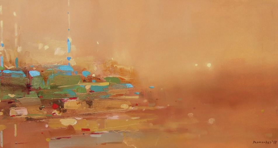 "EN  'Illuminated by Sunlight' 6 Oil on vanvas, 30 x 70 cm, 2017 ____  LT  ""Saulės apšviesti"" 6 Drobė | al., 30 x 70 cm, 2017"