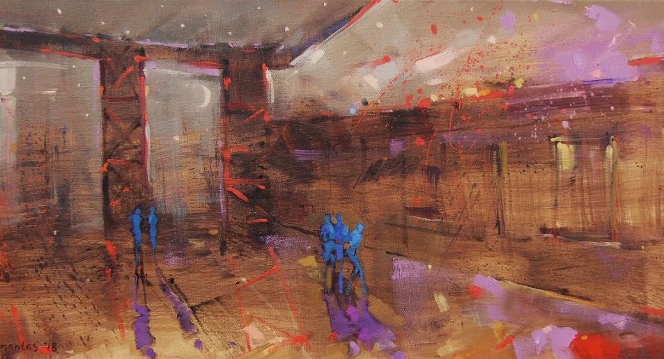"EN  'Nightfall Feast' 2 Oil on canvas, 30 x 70 cm, 2018 ____  LT  ""Šventinė naktis"" 2 Drobė | al., 30 x 70 cm, 2018"