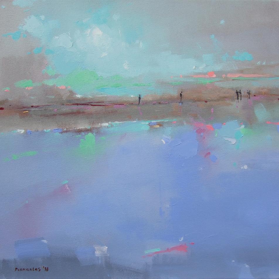 "EN  'On the Coast' Oil on canvas, 37 x 38 cm, 2018 ____  LT  ""Pakrantėje"" Drobė | al., 37 x 38 cm, 2018"
