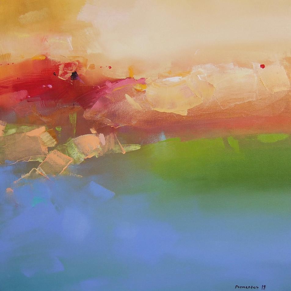 "EN  'Spectrum Fundatus' 7 Oil on canvas, 50 x 50 cm, 2019 ____  LT  ""Spectrum fundatus"" 7 Drobė | al., 50 x 50 cm, 2019"